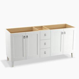 Poplin 72 Vanity with Furniture Legs, 4 Doors and 3 Drawers, Split Top Drawer by Kohler