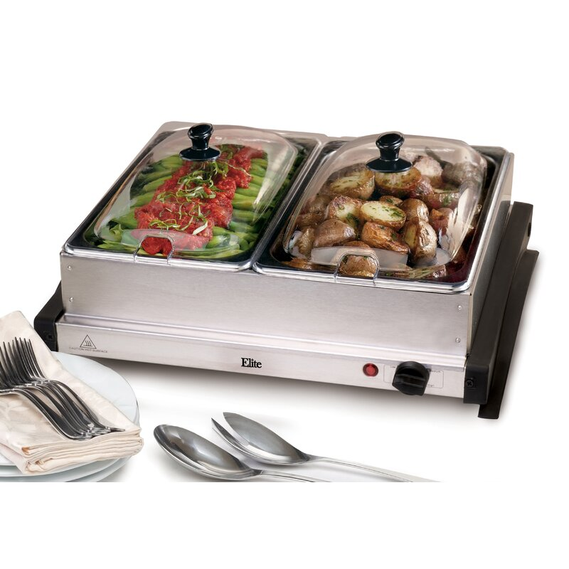 elite by maxi matic gourmet 5 qt stainless steel electric buffet rh wayfair com electric buffet server warming tray electric buffet server set