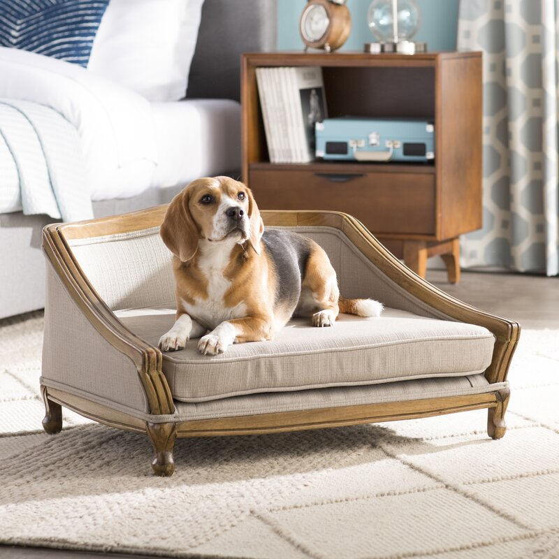 anita sophisticated decorative dog sofa with arched wood frame - Wood Frame Sofa