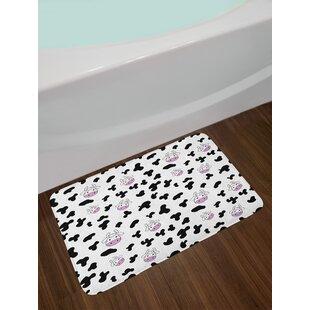 Animal Black White Lilac Cow Print Bath Rug