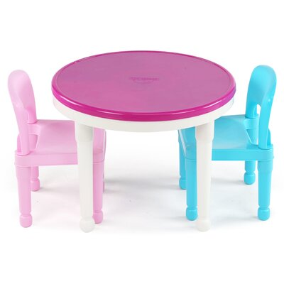 Zoomie Kids Newkirk Kids 3 Piece Round Table and Chair Set Colour: Purple/Pink/Blue