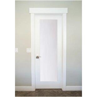 1 Lite Satin Etch Solid Manufactured Wood Glass MDF Prehung Interior Door