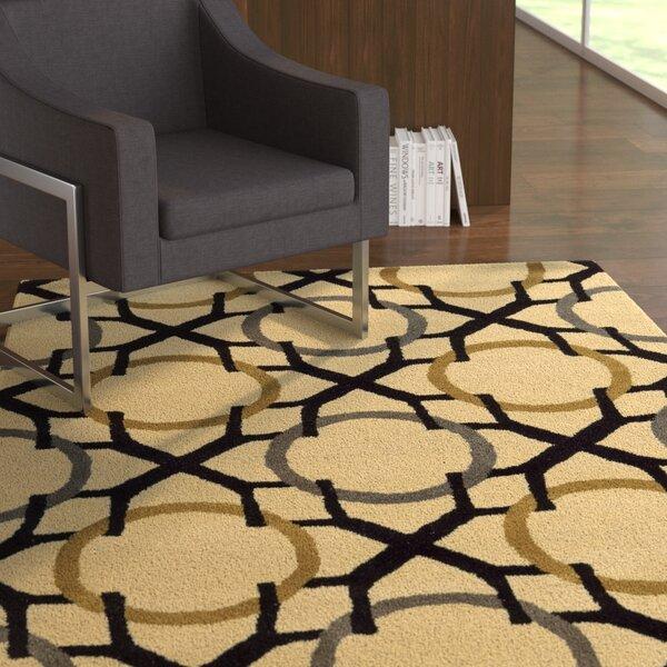 Latitude Run Shara Geometric Handmade Tufted Wool Beige Black Area Rug Wayfair