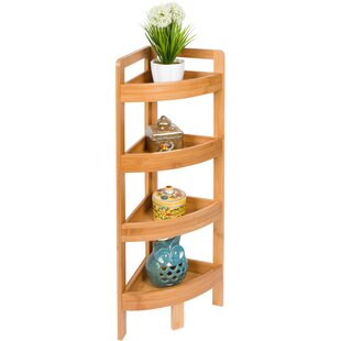 4 Tier Bamboo Storage Corner Unit Bookcase Rebrilliant