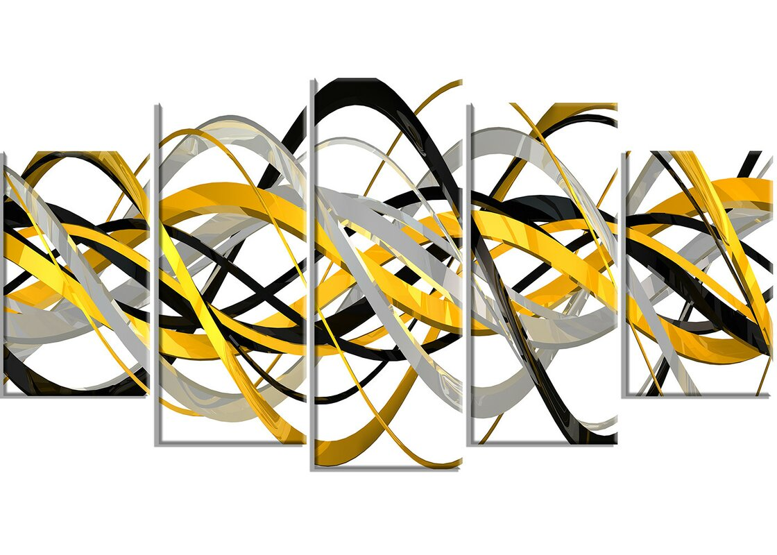 DesignArt Metal \'Helix Expression Abstract\' 5 Piece Graphic Art Set ...