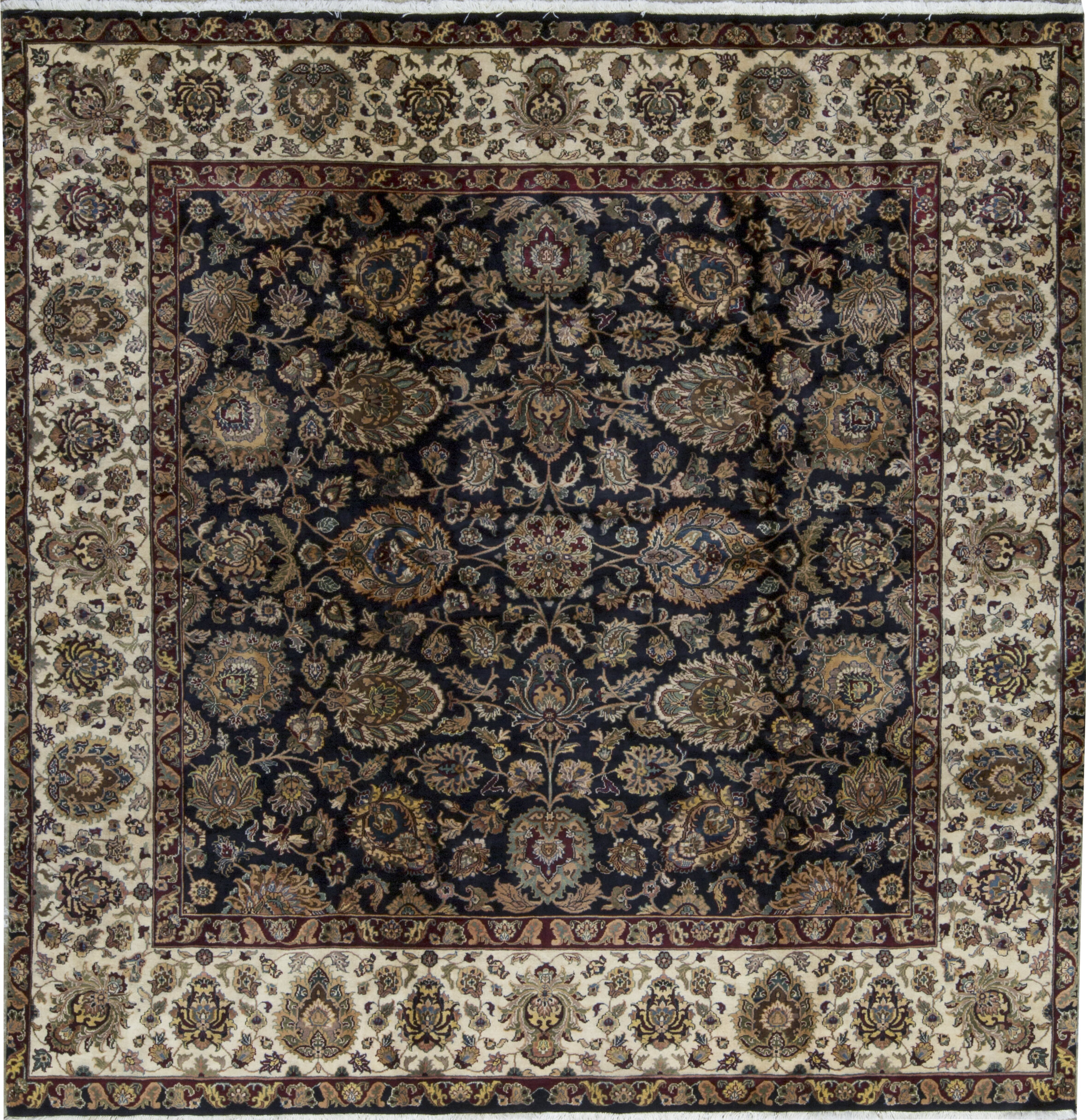 Oriental Hand Knotted Wool Black Cream