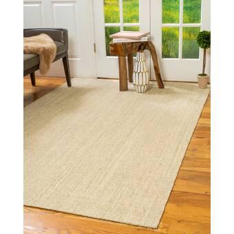August Grove Elverson Handmade Flatweave Jute Sisal Wool Beige Area Rug Wayfair Ca