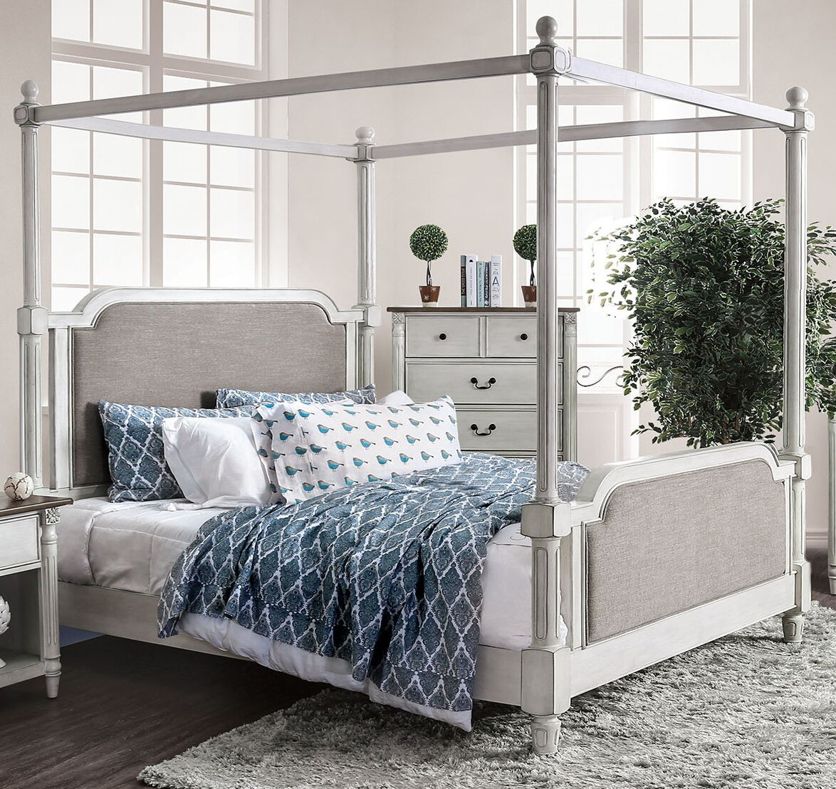 - Ophelia & Co. Austen Upholstered Canopy Bed Wayfair