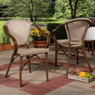 Tara Classic French Stacking Patio Dining Chair (Set of 2)