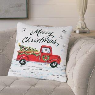 Corrèze Merry Christmas Pickup Truck Throw Pillow