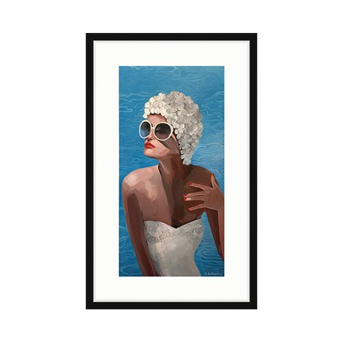 'Poolside' Framed Acrylic Painting Print