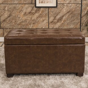 Elegant Waxed Texture Storage Ottoman by Bellasario Collection