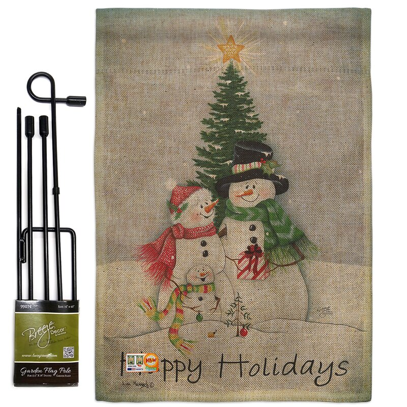 Breeze Decor Snowman Family Winter Christmas Impressions 2 Sided Polyester 19 X 13 In Flag Set Wayfair
