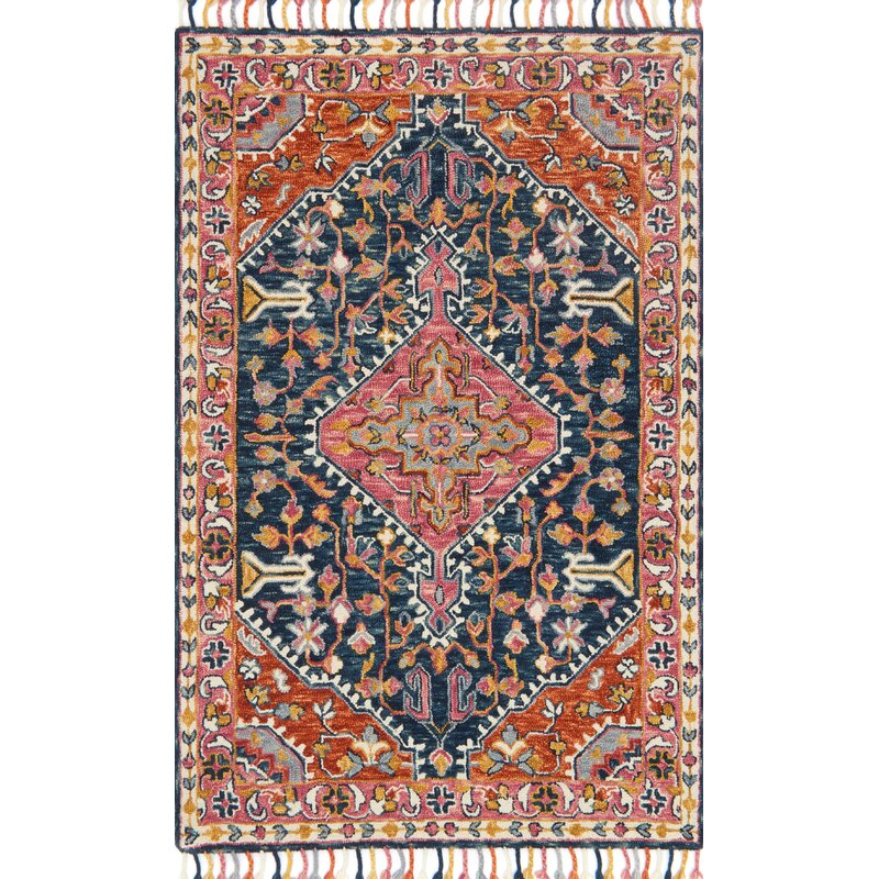 Jovany Hand-Hooked Wool Pink Area Rug