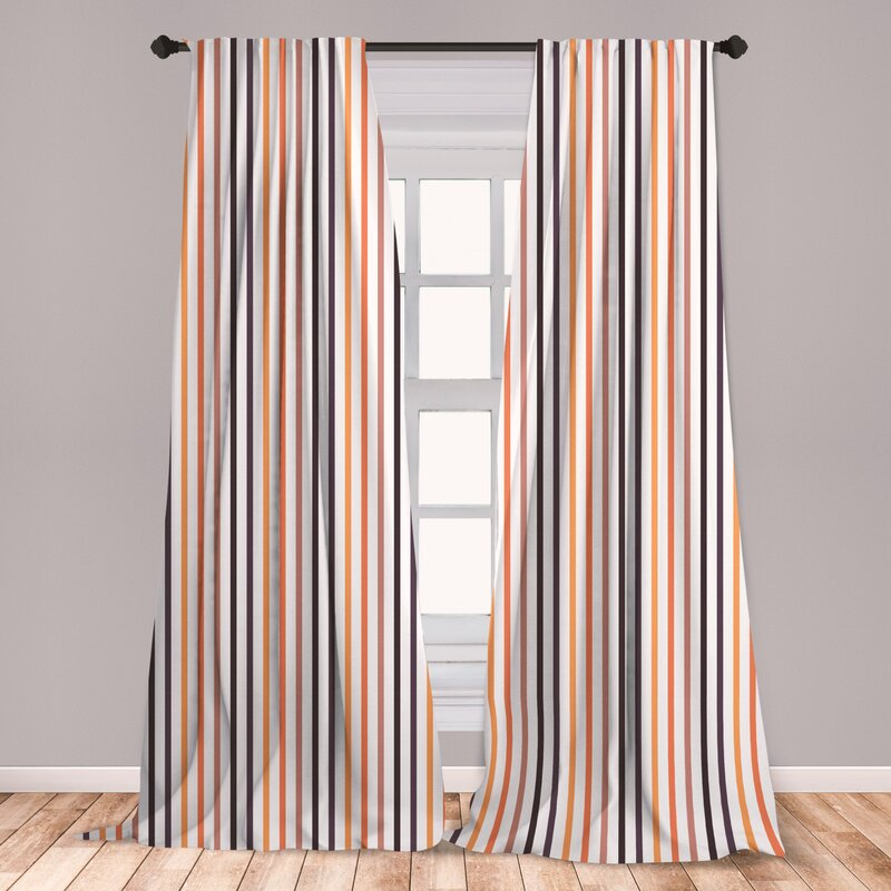 East Urban Home Striped Room Darkening Rod Pocket Curtain Panels Wayfair