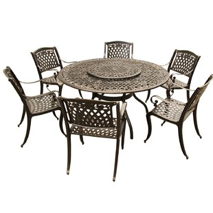 Cason Rose Ornate Mesh Lattice 7 Piece Dining Set