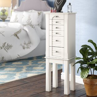 Alcott Hill Glouster Jewelry Armoire with Mirror in White