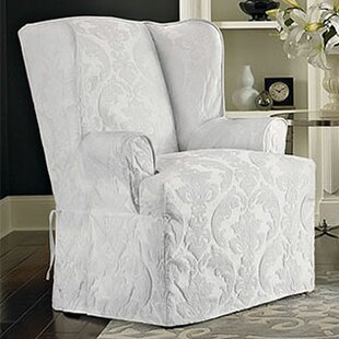 Bon Matelasse Damask T Cushion Wingback Slipcover