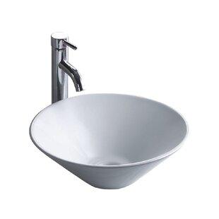 Wells Sinkware China Luxe Ceramic Circular Vessel Bathroom Sink
