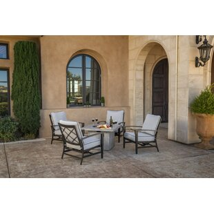 Duncombe 5 Piece Sunbrella Dining Set with Cushions and Firepit