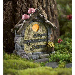 Miniature Solar Door with Mushrooms Fairy Garden by Plow & Hearth
