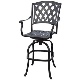 Fleur De Lis Living Campton Contemporary Patio Bar Stool with Cushion (Set of 2)