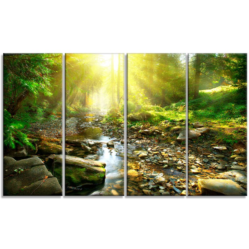 Designart Mountain Stream In Forest 4 Piece Photographic Print On Wrapped Canvas Set Wayfair