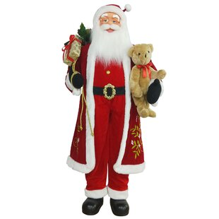 601c71f0829d2 5  Life-Size Standing Santa Claus Christmas Figure with Teddy Bear and Gift  Bag