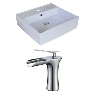 Best Reviews Ceramic Square Vessel Bathroom Sink with Faucet and Overflow By Royal Purple Bath Kitchen