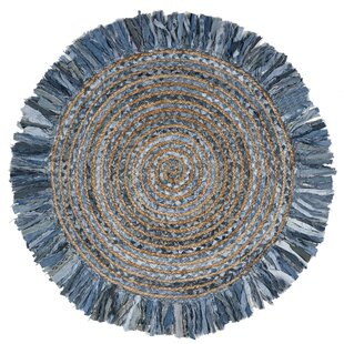 Abhay Handwoven Cotton Gray/Blue Area Rug by Bungalow Rose