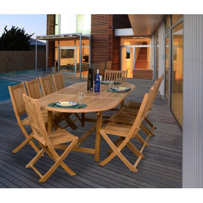 Mcpeters International Home Outdoor 11 Piece Teak Dining Set by Highland Dunes 2020 Sale