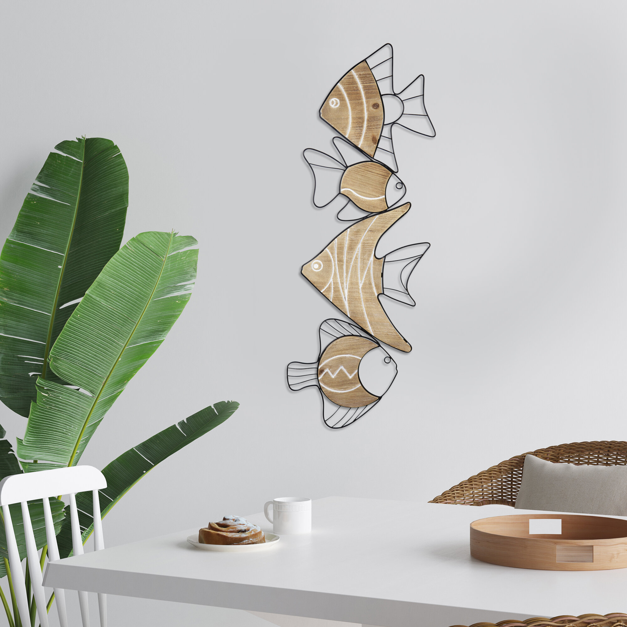 Dovecove Metal And Wood Swimming Fish Wall Décor Wayfair