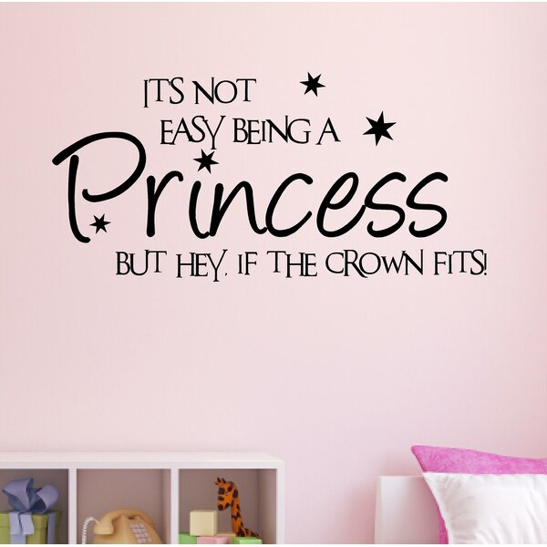 Princess Wall Sticker Girls bedroom decal crown fits nursery Wall Quote