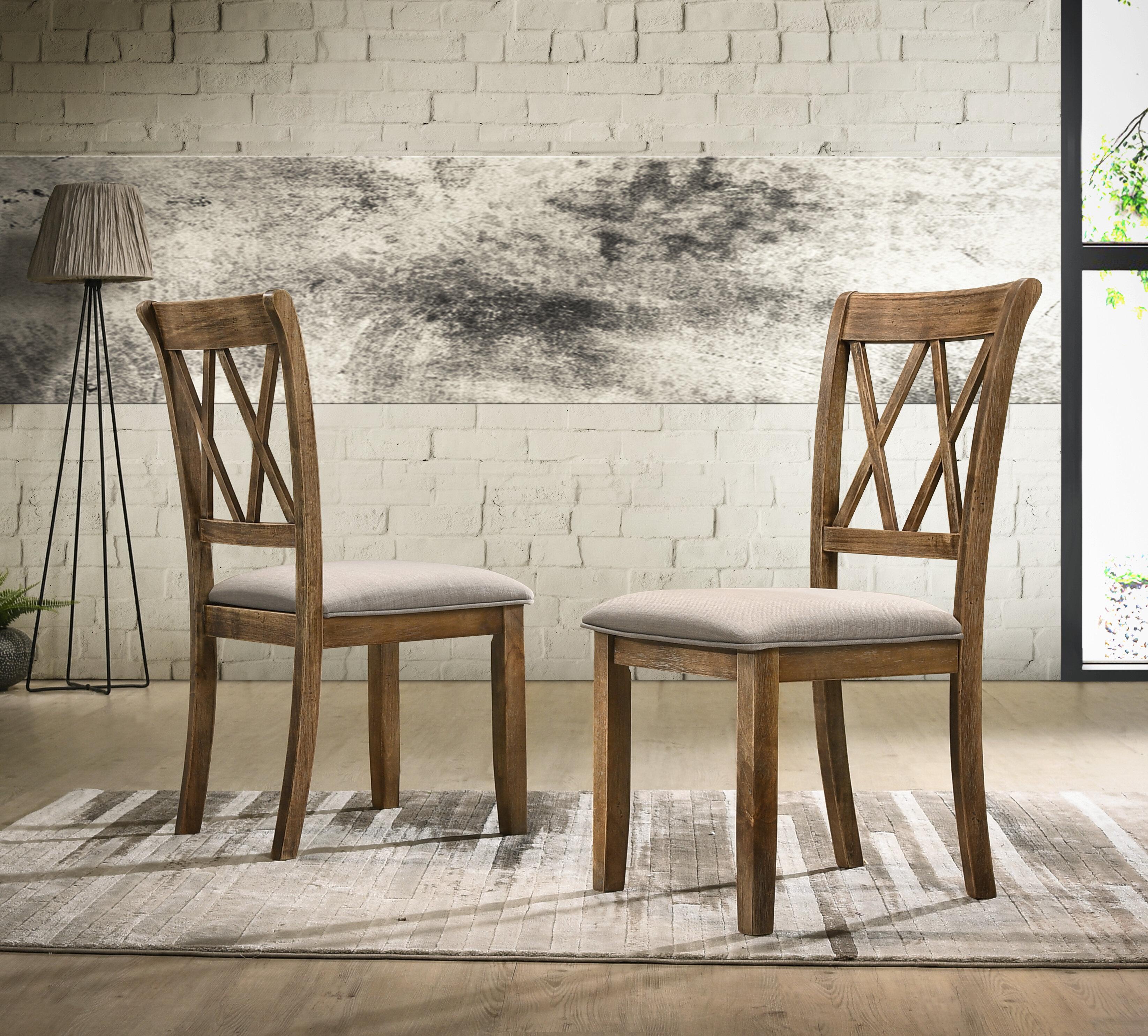 Gracie Oaks Leonila Upholstered Cross Back Side Chair Reviews Wayfair