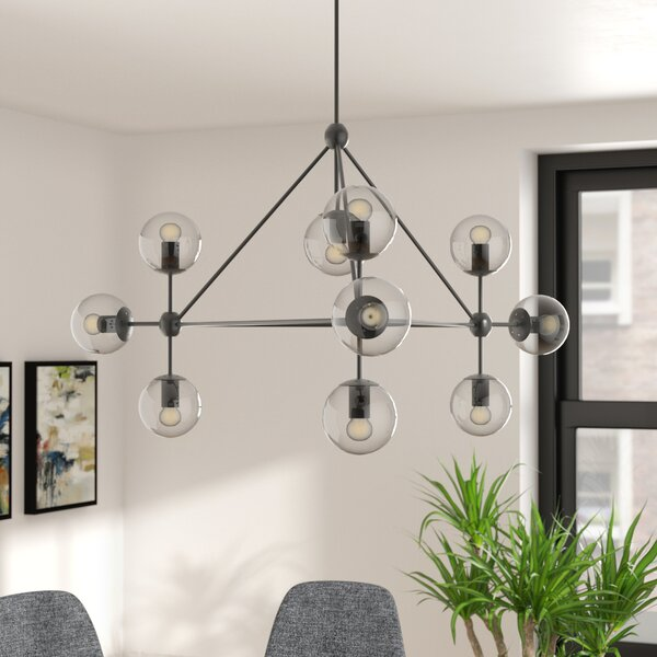 Corrigan Studio Frederick 10 Light Sputnik Modern Linear Chandelier Reviews Wayfair