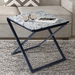 Cushman Granite/Metal End Table by Ivy Bronx