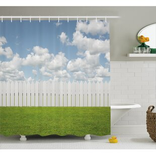 Scenery Sky with Clouds Farm Shower Curtain + Hooks