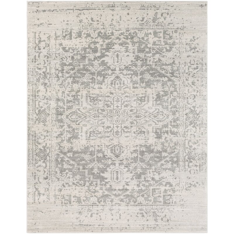Hillsby Oriental Charcoal Light Gray Beige Area Rug