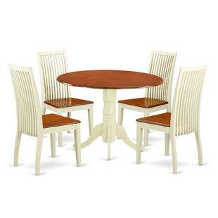 August Grove Spruill 5 Piece Drop Leaf Breakfast Nook Solid Wood Dining Set