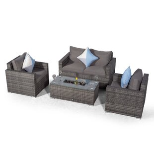 Villatoro Grey Rattan 2 Seat Sofa + 2 X Armchairs & Ice Bucket Rectangle Coffee Table, Outdoor Patio Garden Furniture By Sol 72 Outdoor