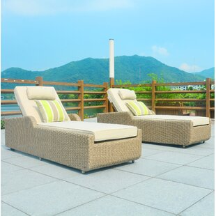 Yinn Reclining Chaise Lounge Set with Cushions and Table by Bayou Breeze