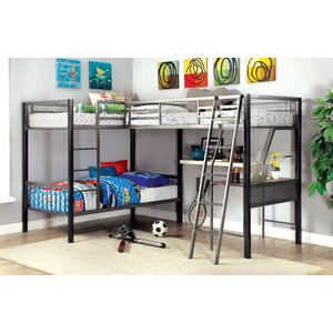 Earline Contemporary Twin over Twin L-Shaped Bunk Bed with Storage and Display Shelf