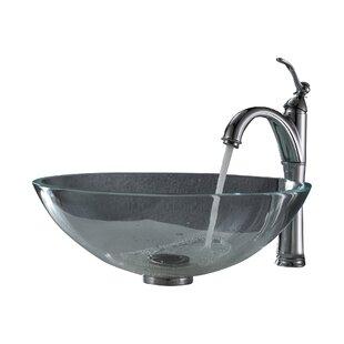 Kraus Crystal Glass Circular Vessel Bathroom Sink