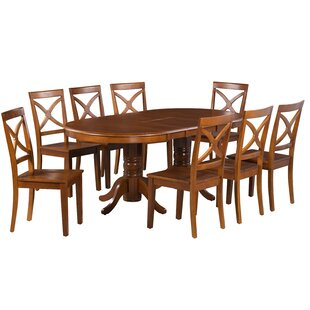 Skyler 9 Piece Extendable Solid Wood Dining Set by Alcott Hill Coupon