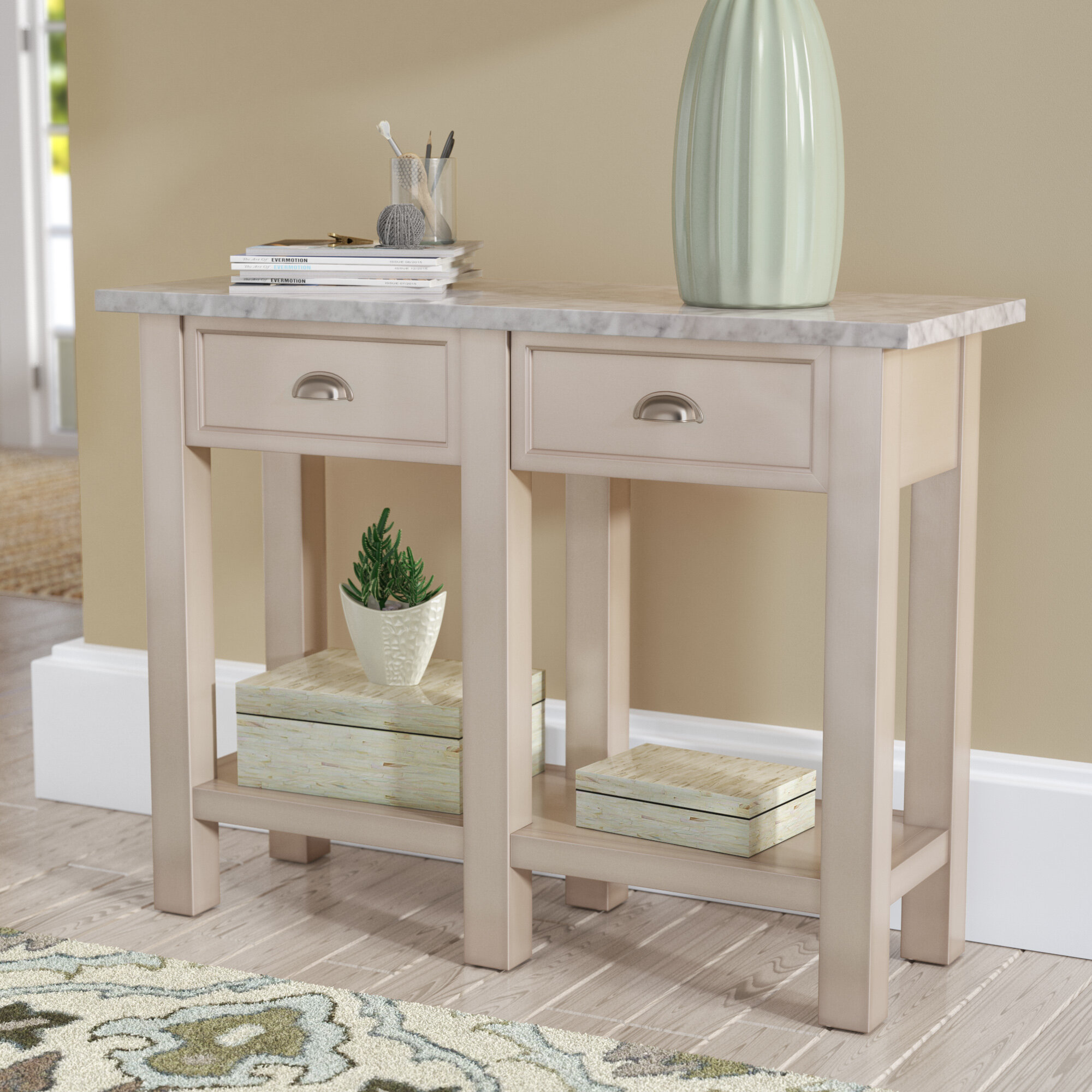 Three Posts Burket Faux Marble Console Table | Wayfair