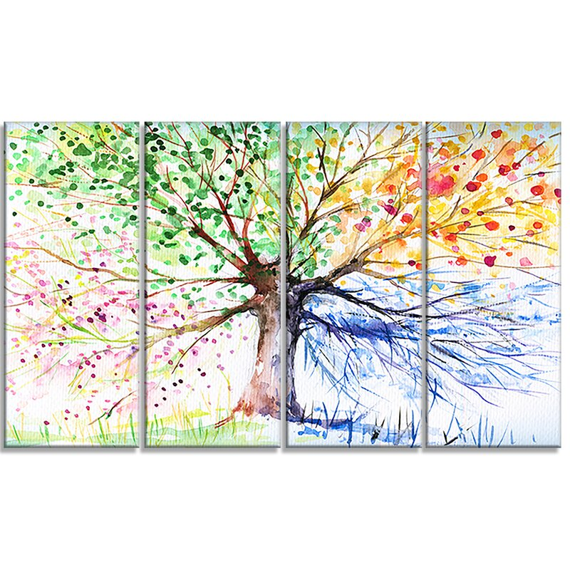 Designart Four Seasons Tree Floral 4 Piece Painting Print On Wrapped Canvas Set Wayfair
