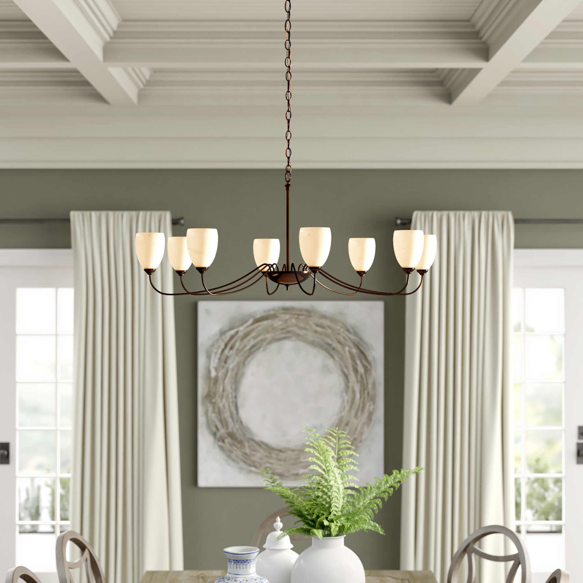 Hubbardton Forge 8 Light Shaded Classic Traditional Chandelier Wayfair Ca