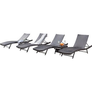 Noelle 6 Piece Wicker Chaise Lounger Set
