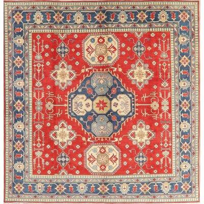 Burgett Kazak Square Area Rug Handmade Oriental Geometric Wool Persian New Carpet 102x99 Bloomsbury Market