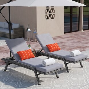 Thebes Reclining Chaise Lounge with Cushion (Set of 2)